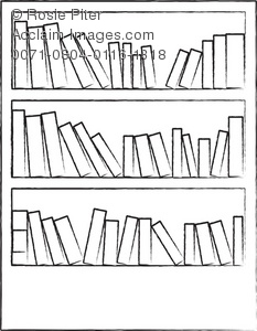 Clipart Illustration of a Bookcase Full of Books.