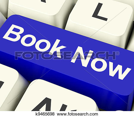 Clipart of Blue Book Now Button For Hotel Or Flight Reservation.