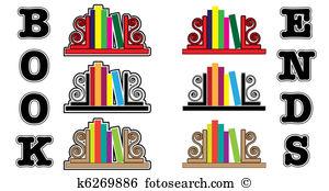 Bookend Clip Art Vector Graphics. 13 bookend EPS clipart vector.