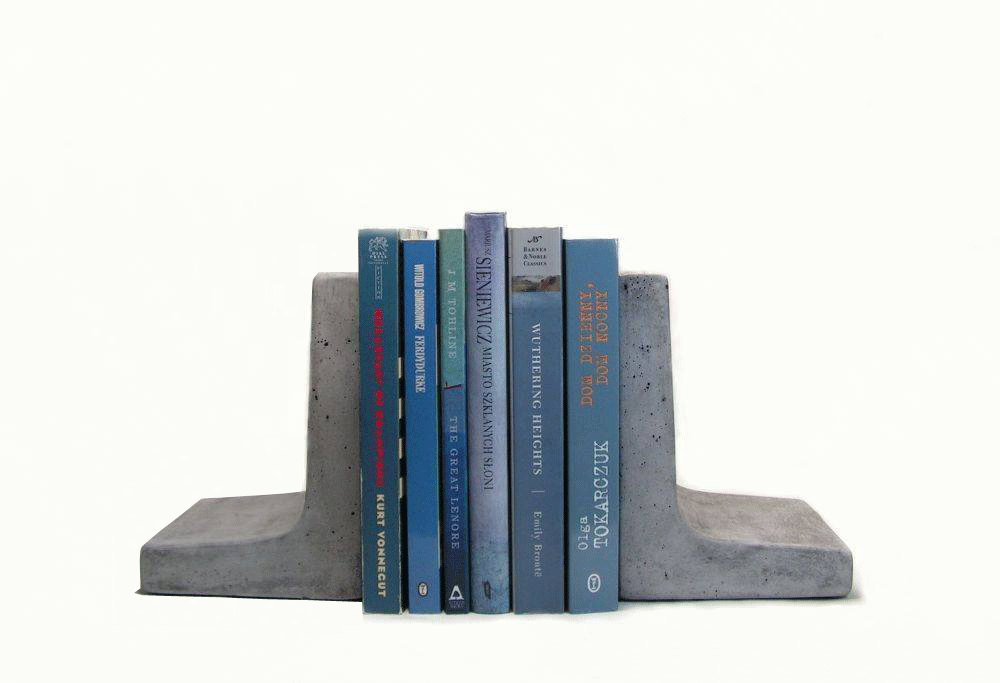 Modern Concrete Bookends by roughfusion on Etsy.