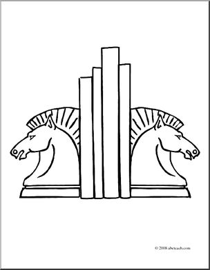 Clip Art: Bookends (coloring page).