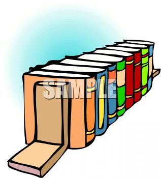 Cartoon of a Row of Book in Bookends.