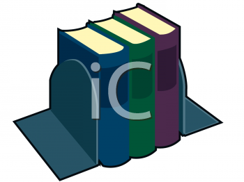 Clipart Picture of Three Books Between Bookends.