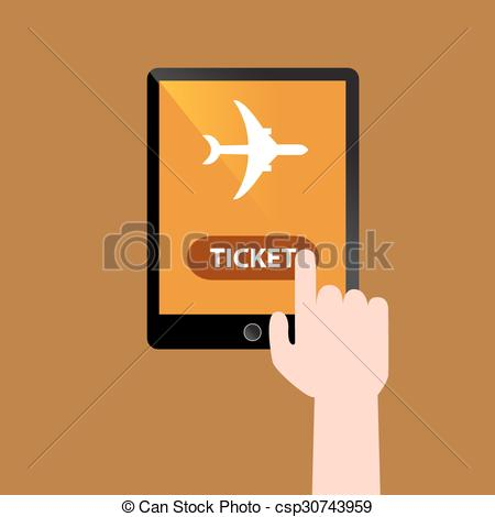 Clipart Vector of Booking Online Flight Ticket.