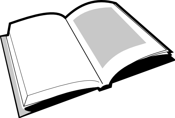 Open Book Black And White Clipart.