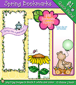 Printable bookmarks for spring by DJ Inkers.