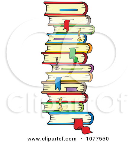 Clipart Stack Of School Books With Bookmarks.