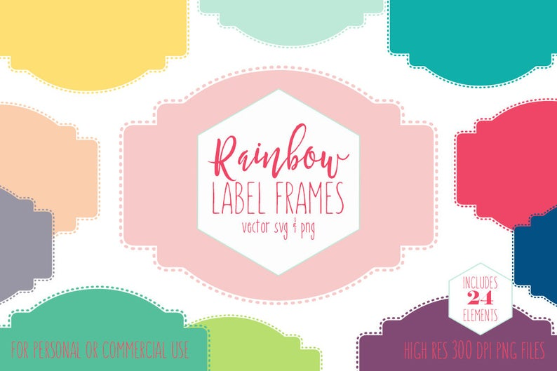LABEL FRAMES CLIPART for Commercial Use Planner Clip Art Rainbow Colors  Stitched Border Labels Bookplate Name Tag Digital Vector Graphics.