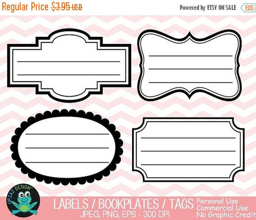 75% OFF SALE Label Frames Clipart, Vector Graphics, Commercial Use.