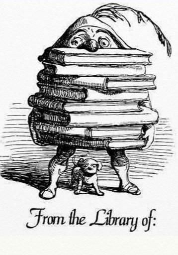 Free vintage clipart bookplate, elf with stack of books.