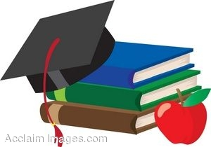 Clip Art Of A Stack Of School Books With A Graduation Cap And An Apple.