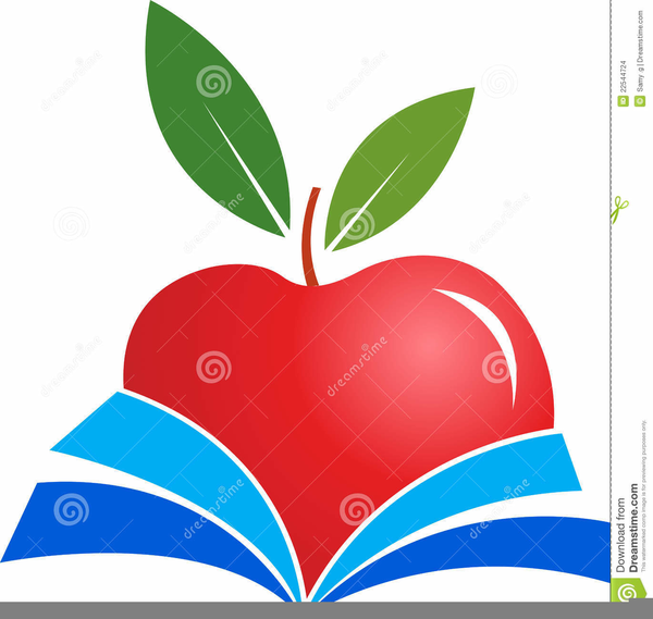 Books And Apple Clipart.