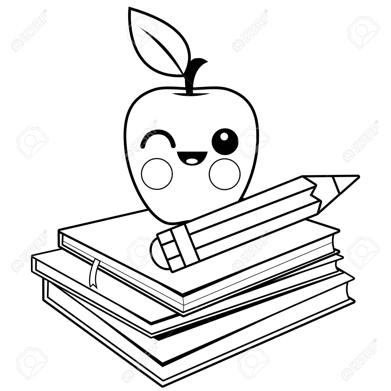 Apple, books and pencil. Black and white coloring book page..