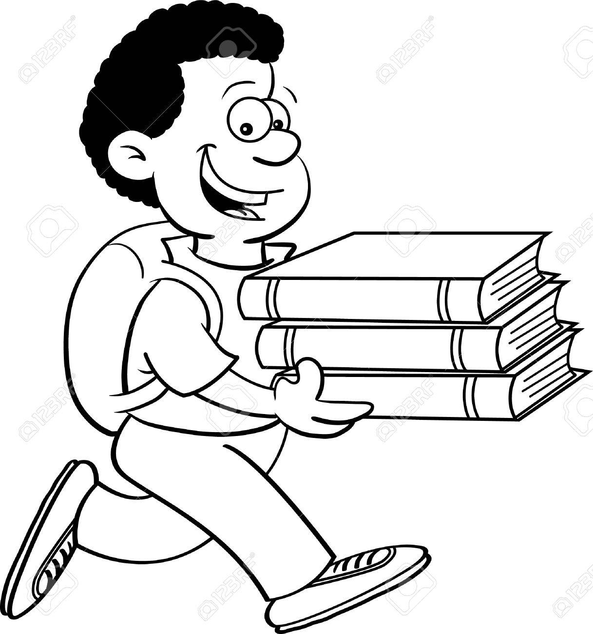 Black and white illustration of a kid carrying books.
