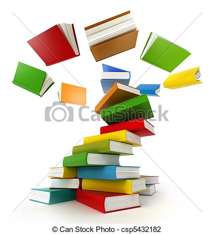 Clip Art of Books Tornado . Isolated on white. csp5432182.