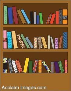 painting of books on bookshelves.