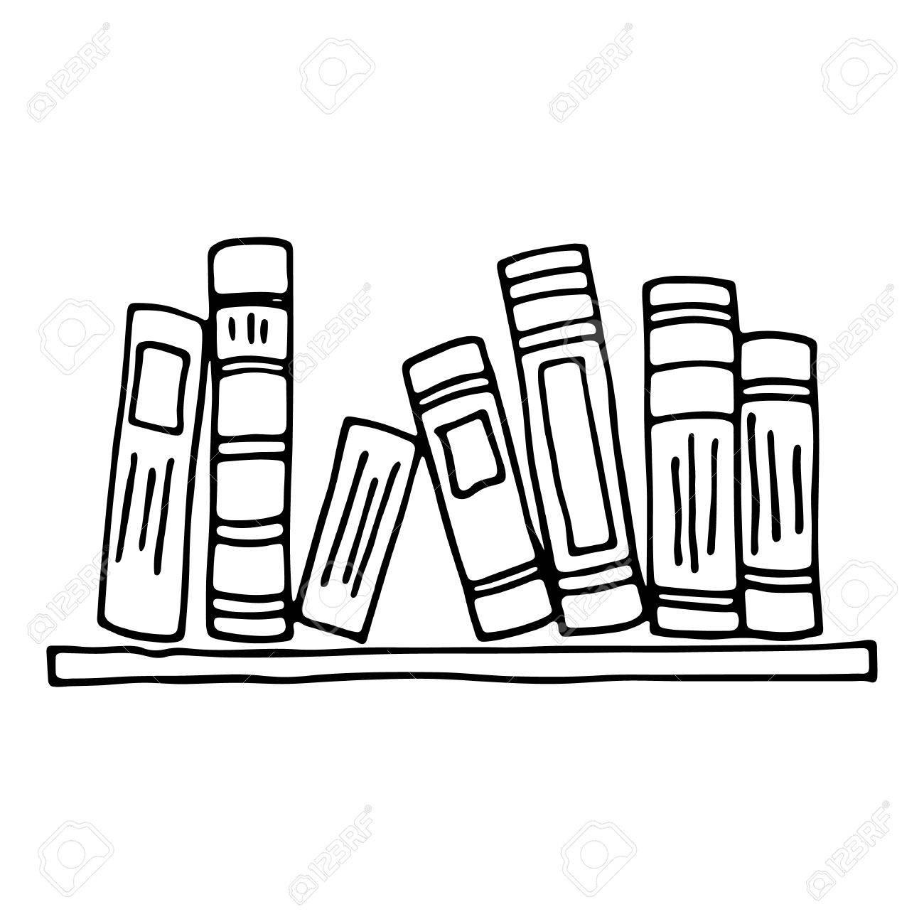 Books on the shelf isolated on white background.