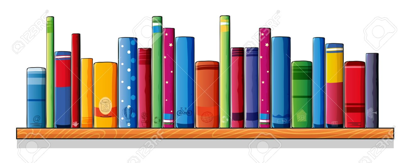 Illustration of a wooden shelf with books on a white background.
