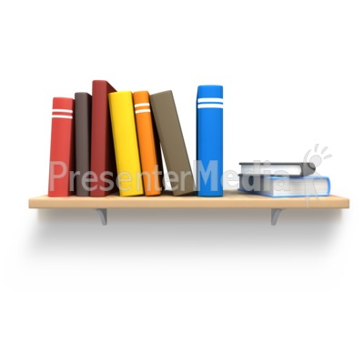 books on wood shelf.