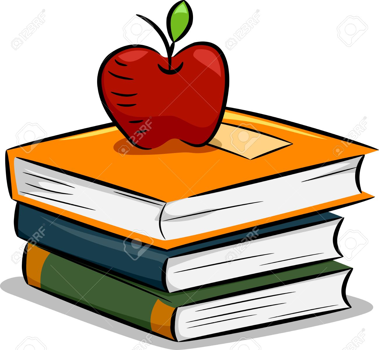 Illustration Of An Apple Resting On A Pile Of Books Stock Photo.
