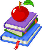 Apple And Books Clipart.