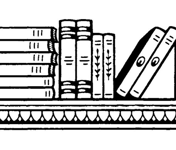 Bookshelf Black And White Clipart in Row Of Books Clipart Black And.