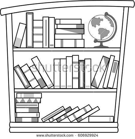 Bookshelf Black White Stock Illustration 606929924.