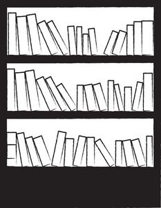 Clipart Image Black And White Drawing Of A Bookcase Or Bookshelf.