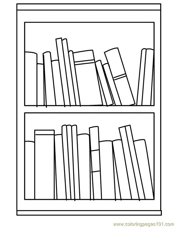 Bookshelf Clipart Black And White.