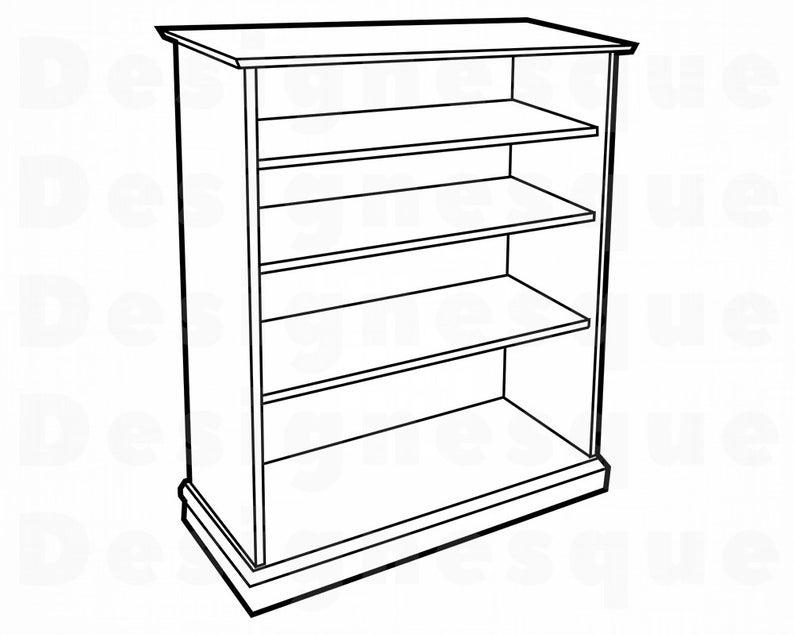 Bookshelf Outline SVG, Furniture Svg, Bookshelf Clipart, Bookshelf Files  for Cricut, Bookshelf Cut Files For Silhouette, Dxf, Png, Vector.