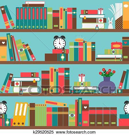 Bookshelf with books Clipart.