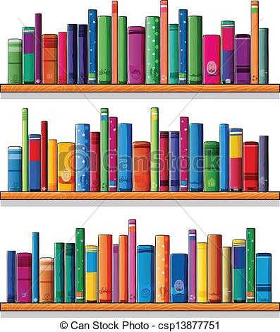 Wooden Shelves With Books Clipart Vector Csp13877751 In Book Shelf.