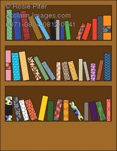 Clipart Illustration of a Wooden Bookshelf With Different Patterned.