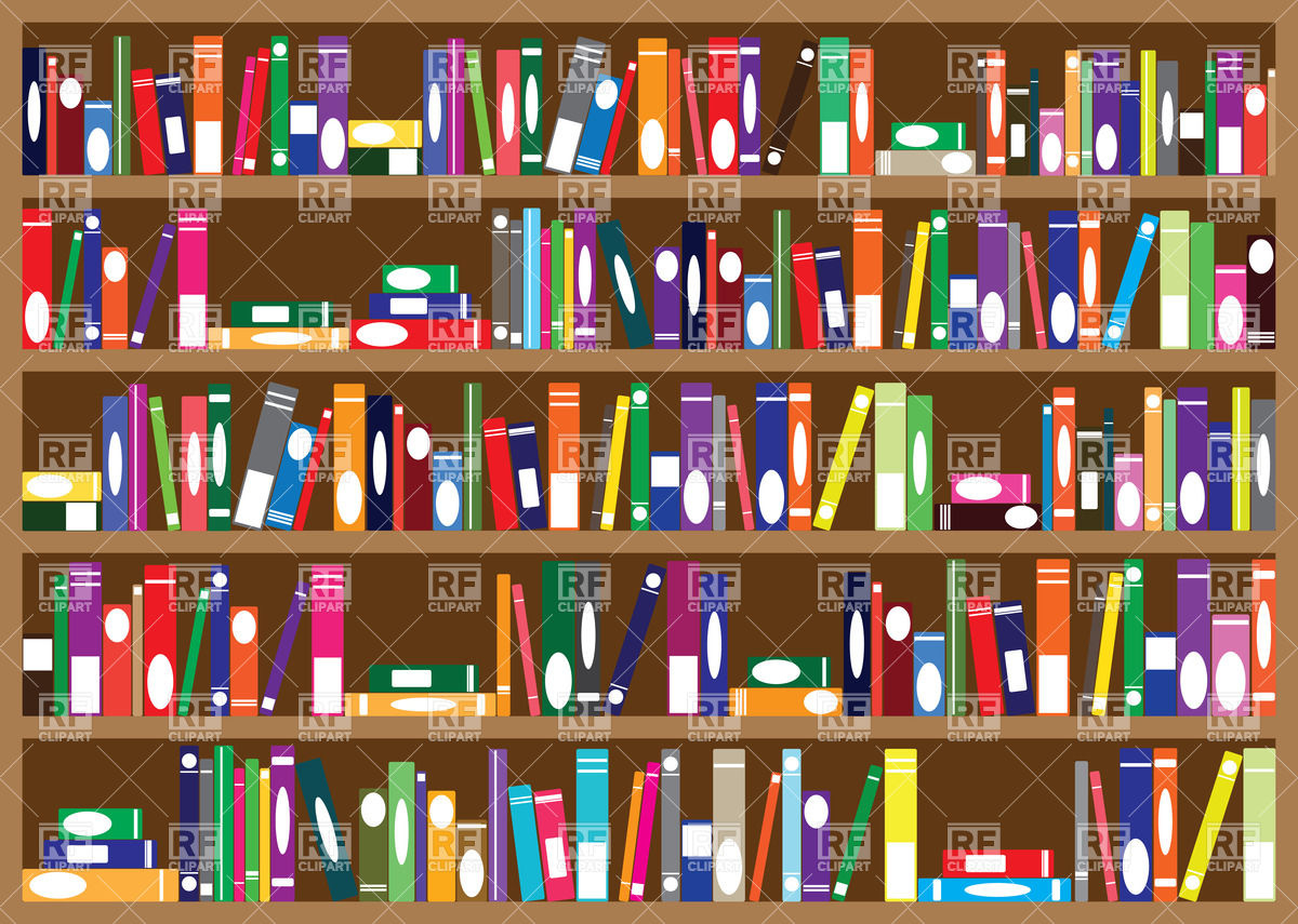 Series of books arranged on bookshelves Vector Image #34744.