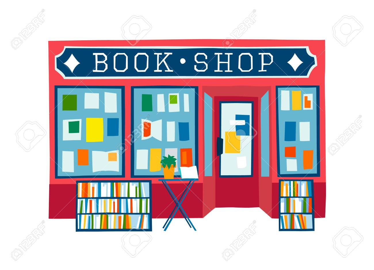 book shop front vector illustration. Colorful flat style facade...