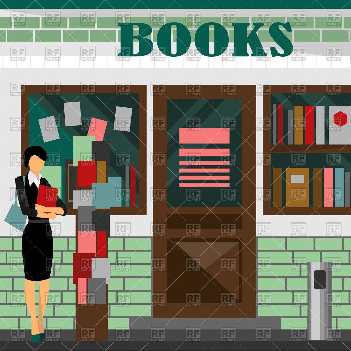 Book shop building Stock Vector Image.
