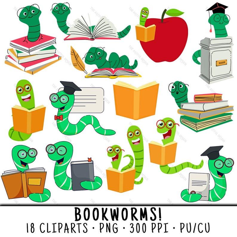 Bookworm Clipart, School Clipart, Bookworm Clip Art, School Clip Art, Book  Worm Clipart, Book Worm Clip Art, Bookworm PNG, Cute Bookworm.