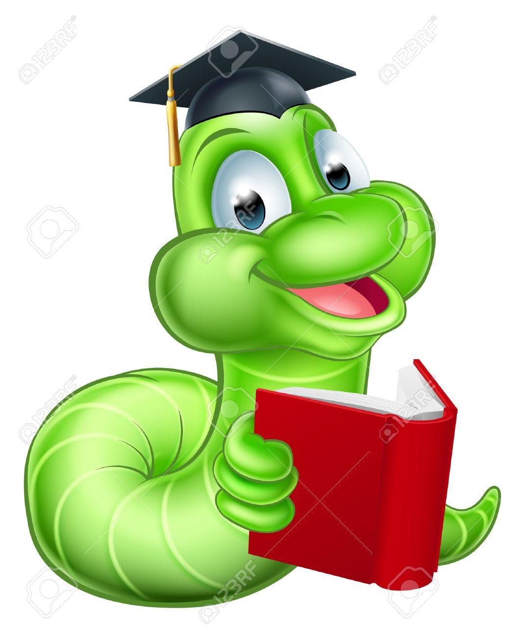 Cute smiling green cartoon caterpillar worm bookworm mascot reading...