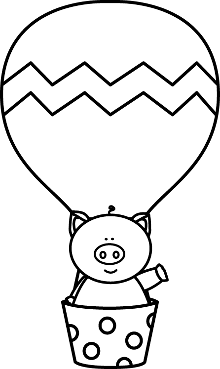 Black and White Pig in a Hot Air Balloon clip art from.