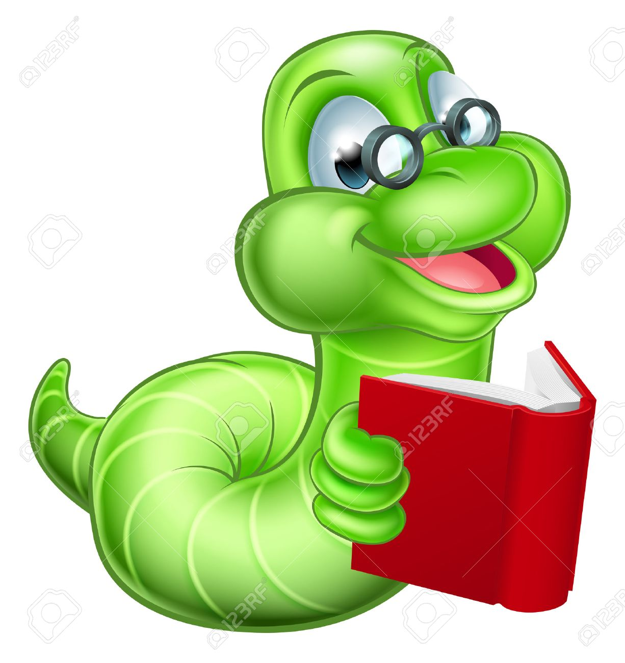 Cute smiling green cartoon caterpillar worm bookworm with glasses...