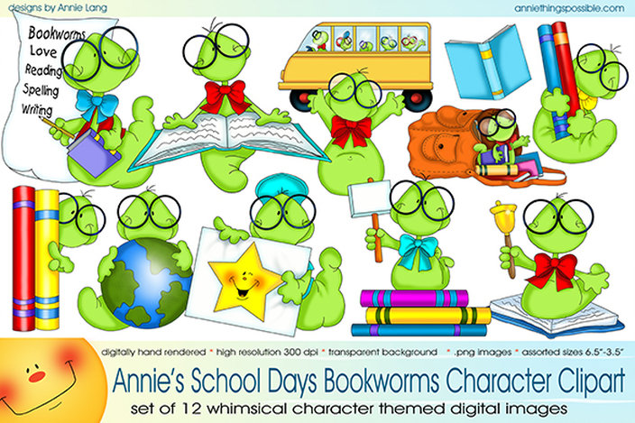 School Days Bookworms Clipart.
