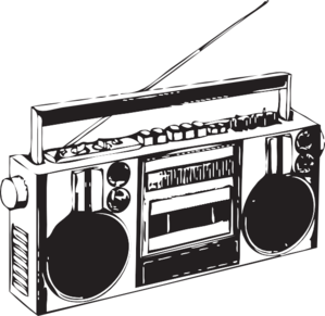 Boombox Black And White Clipart.