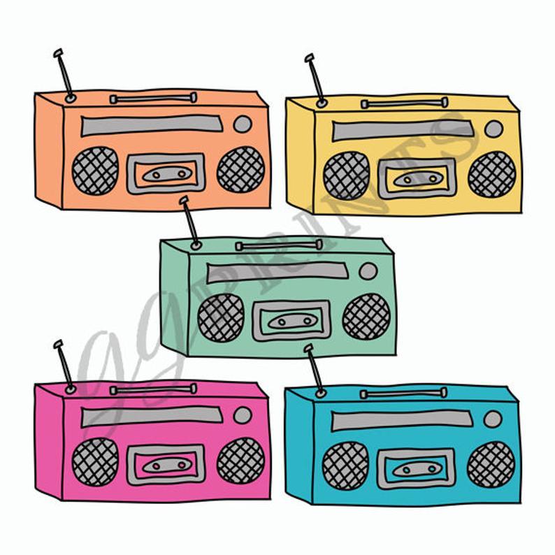 Music Boombox Clipart // Planner Clipart // Vintage Music // Planner  Sticker Clipart.
