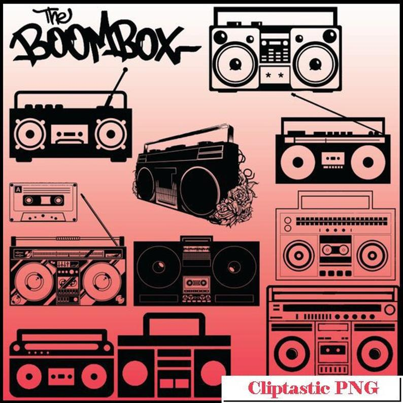 12 Boombox Silhouette Clipart Images, Clipart Design Elements, Instant  Download, Black Silhouette Clip art, Boombox Clipart, PNG Images.