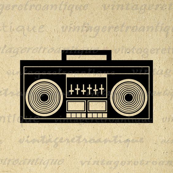 Boombox Image Printable Digital Download Music Radio Stereo.