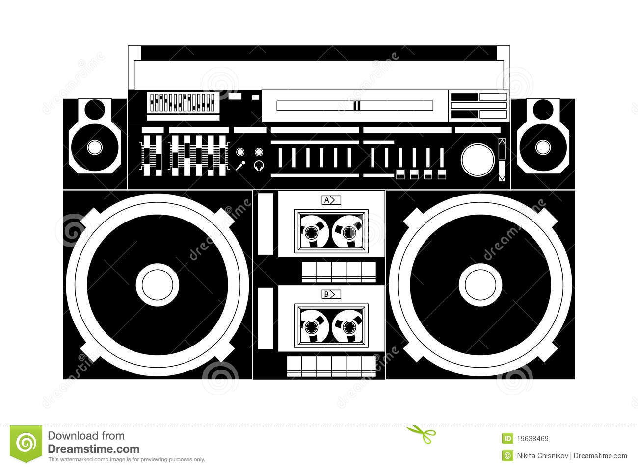 Old School Boombox Clipart.