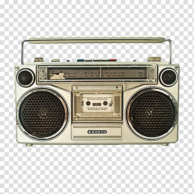 Silver Sanyo boombox, Boombox Compact Cassette VCR/DVD combo, radio.