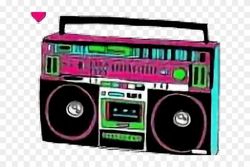 Neon Clipart 80's Boombox.