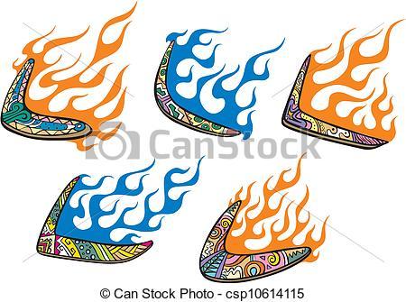 Vector Clip Art of Native Australian Boomerangs with Flames. Set.