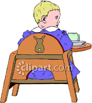 Royalty Free Clipart Image: Small Child Sitting in a Booster Seat.